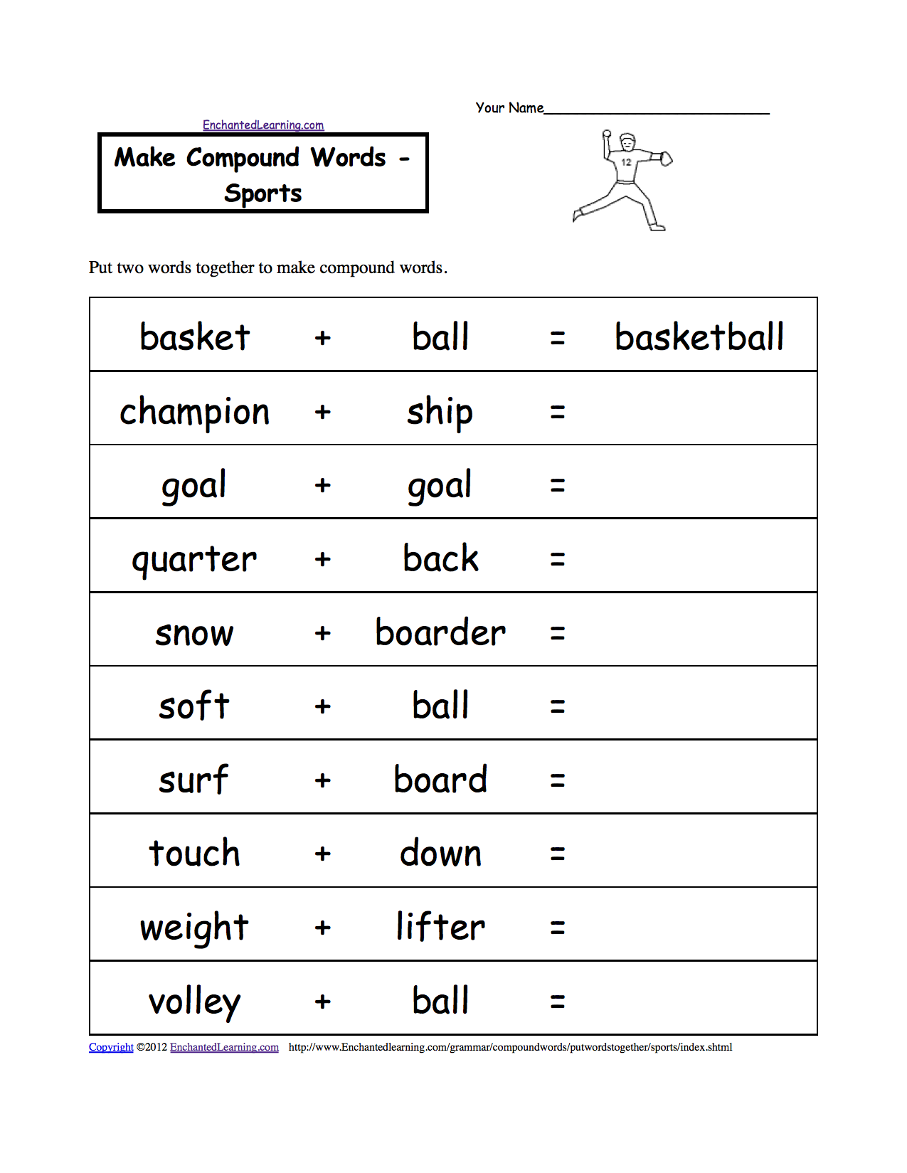 Sports at EnchantedLearning – Play School Worksheets