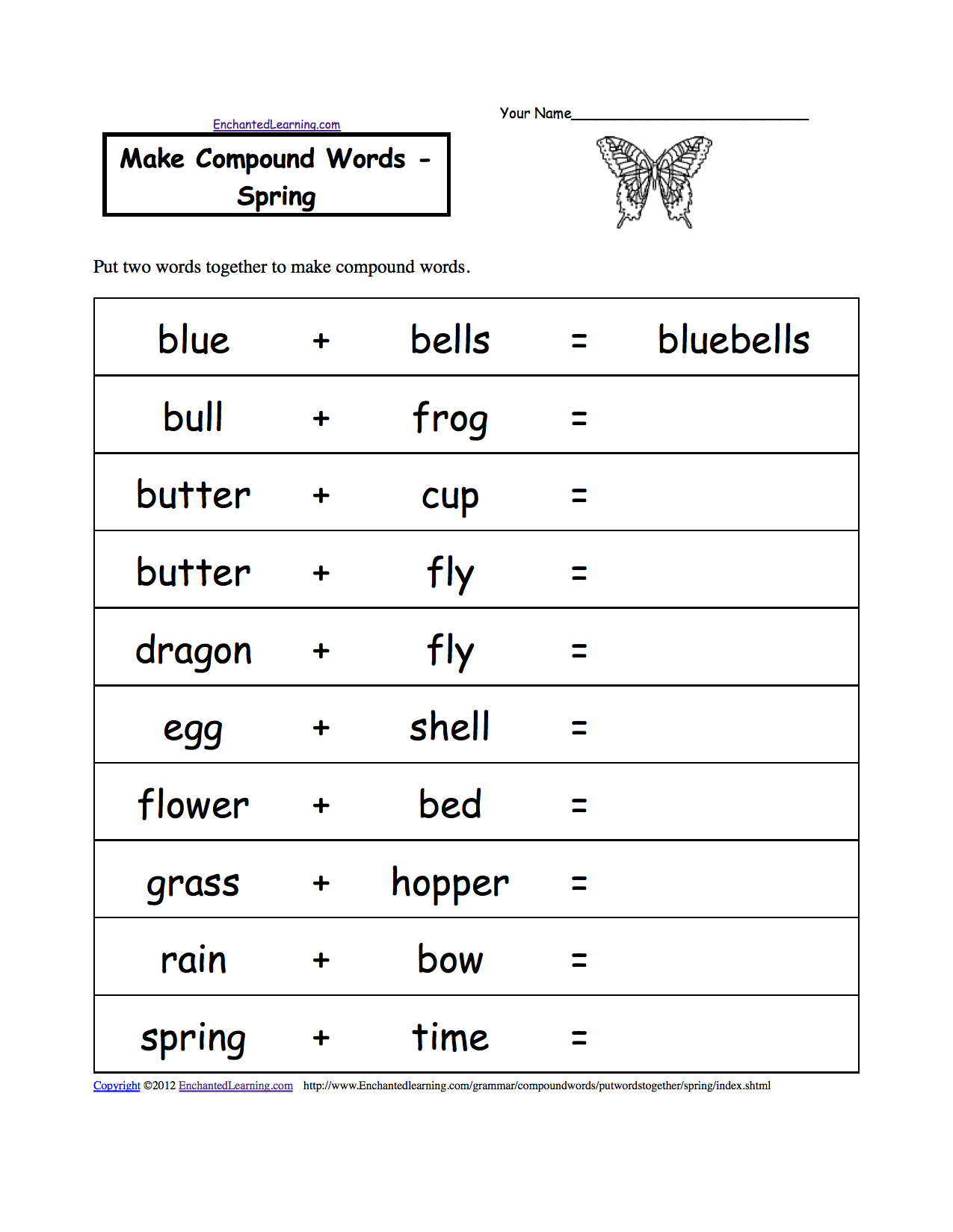 Make Compound Words, Printable Worksheets. EnchantedLearning.com