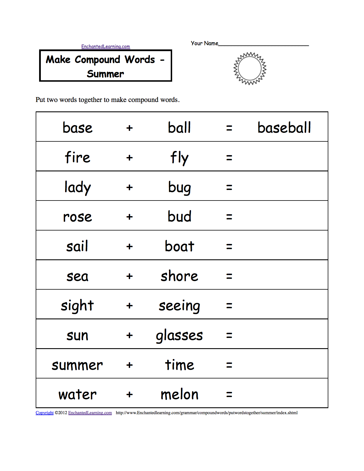 Printables Printable Spelling Worksheets spelling worksheets summer k 3 theme page at enchantedlearning com make compound words printable worksheet