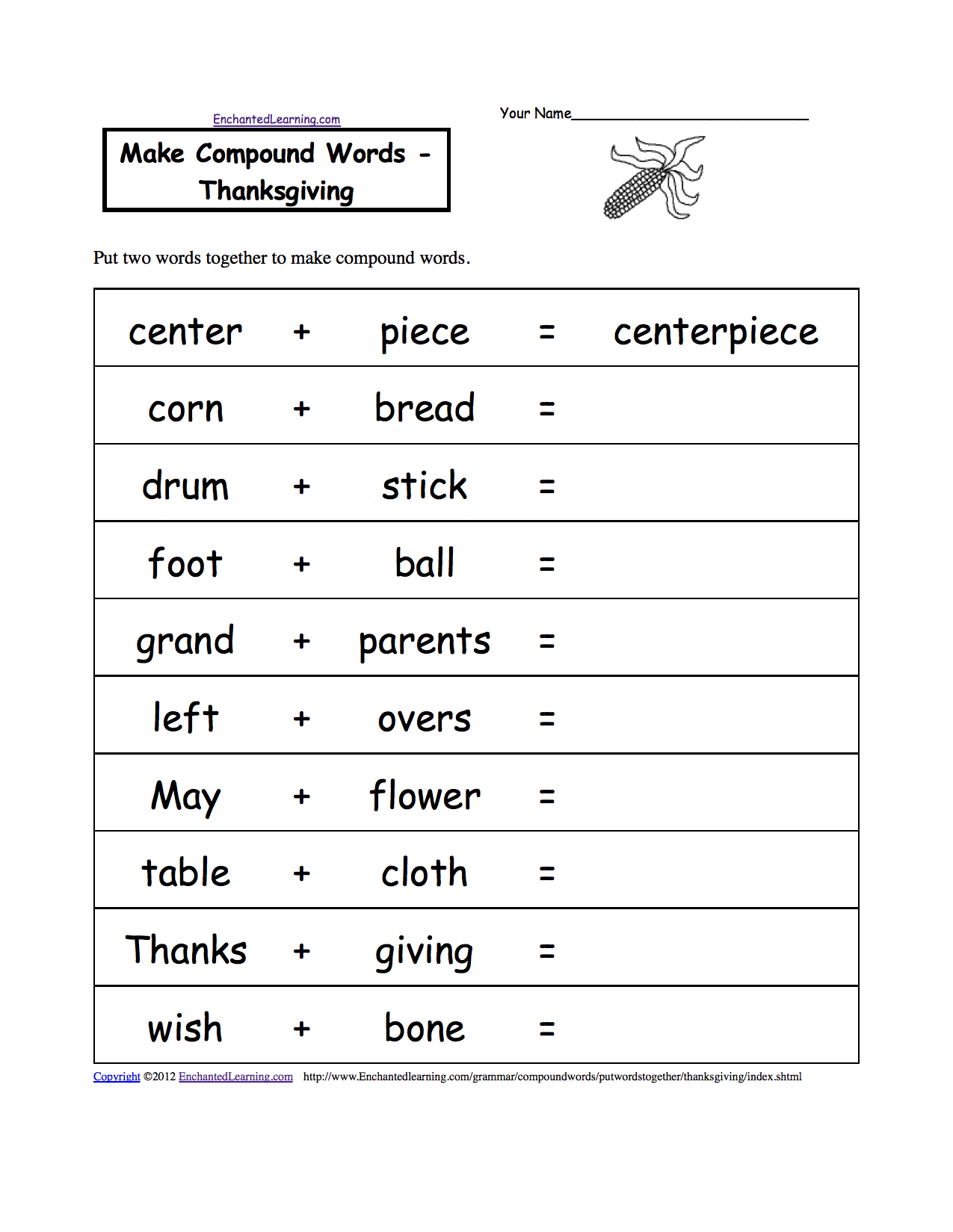 thanksgiving crafts worksheets and activities make compound words