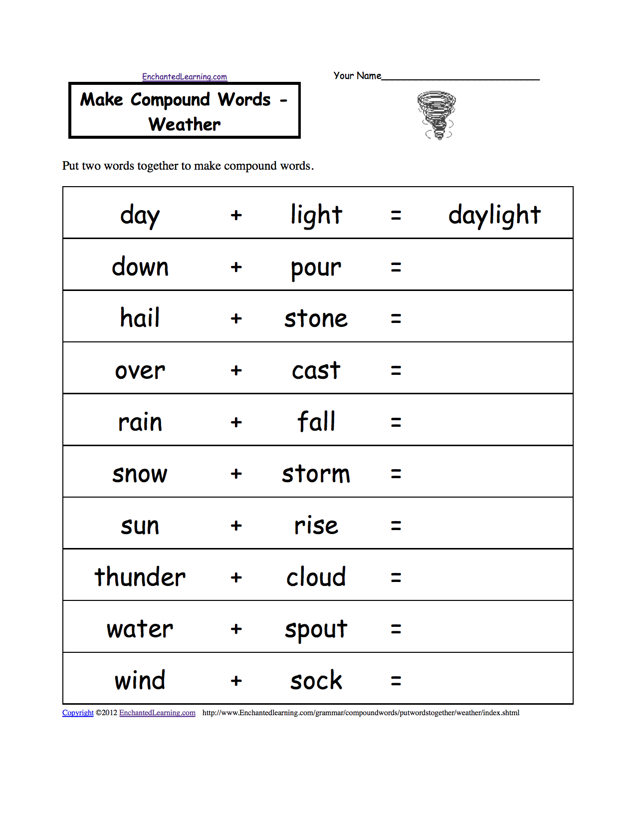 Make compound words weather printable worksheet put two words together