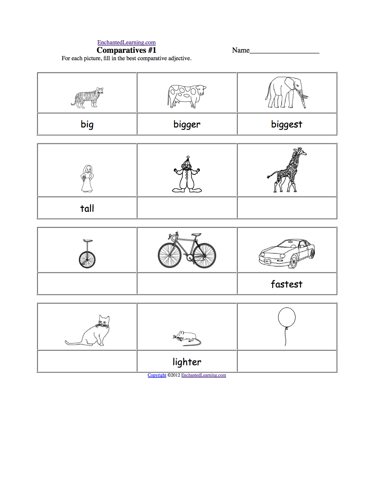 Adjective Activities and Worksheets: EnchantedLearning.