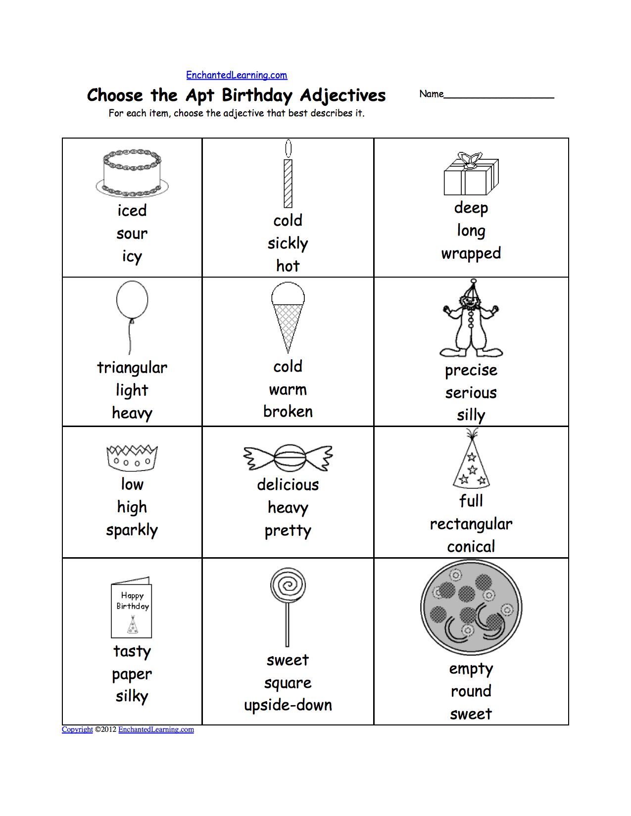 math worksheet : birthday activities at enchantedlearning  : Adjective Worksheet For Kindergarten