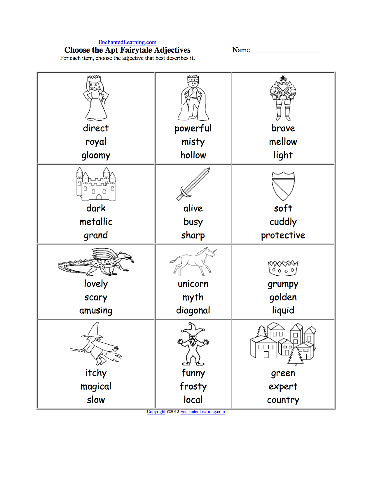 worksheet Ks2 Worksheets To Print pick the apt adjective worksheets to print enchantedlearning com