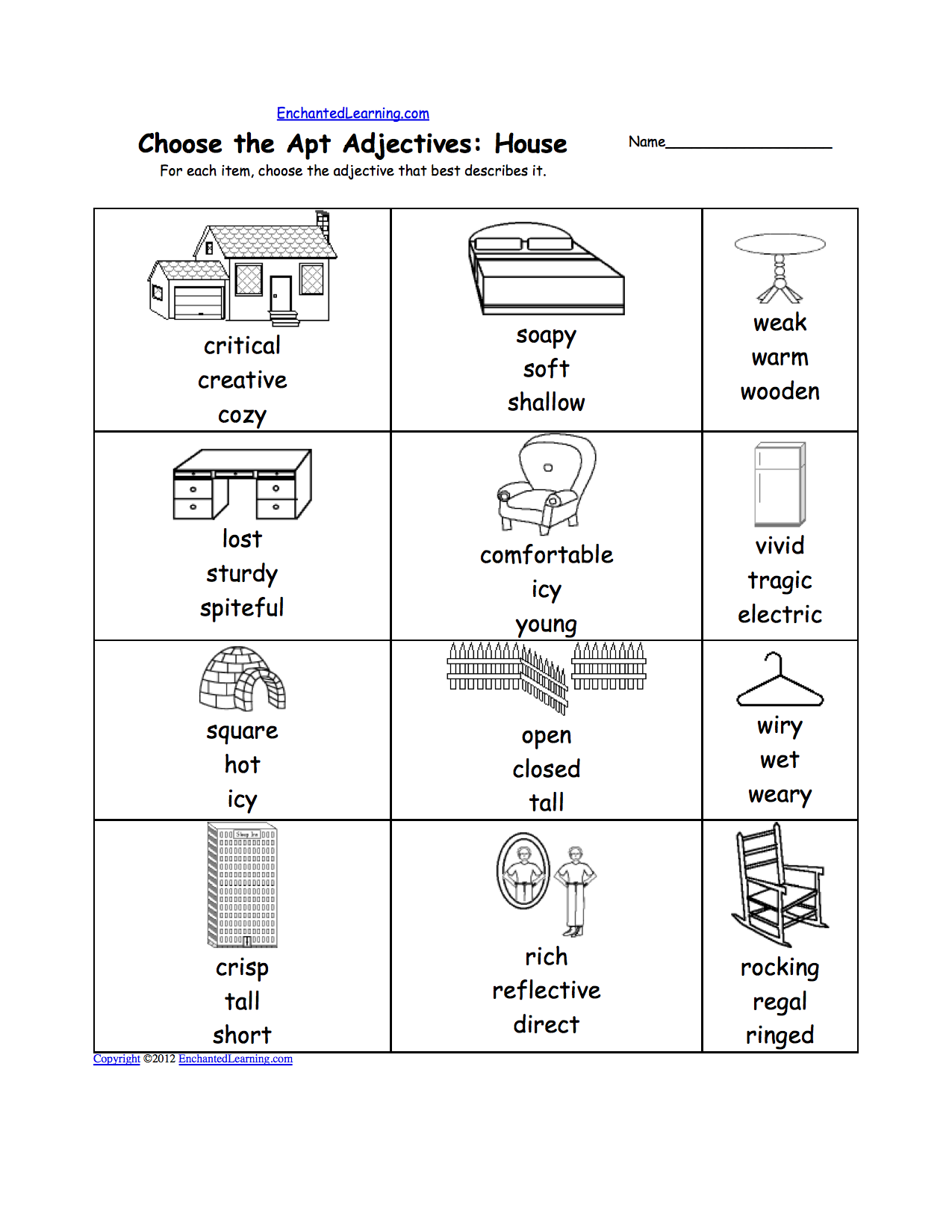 Pick the Apt Adjective Worksheets to Print EnchantedLearning – Kindergarten Adjective Worksheets