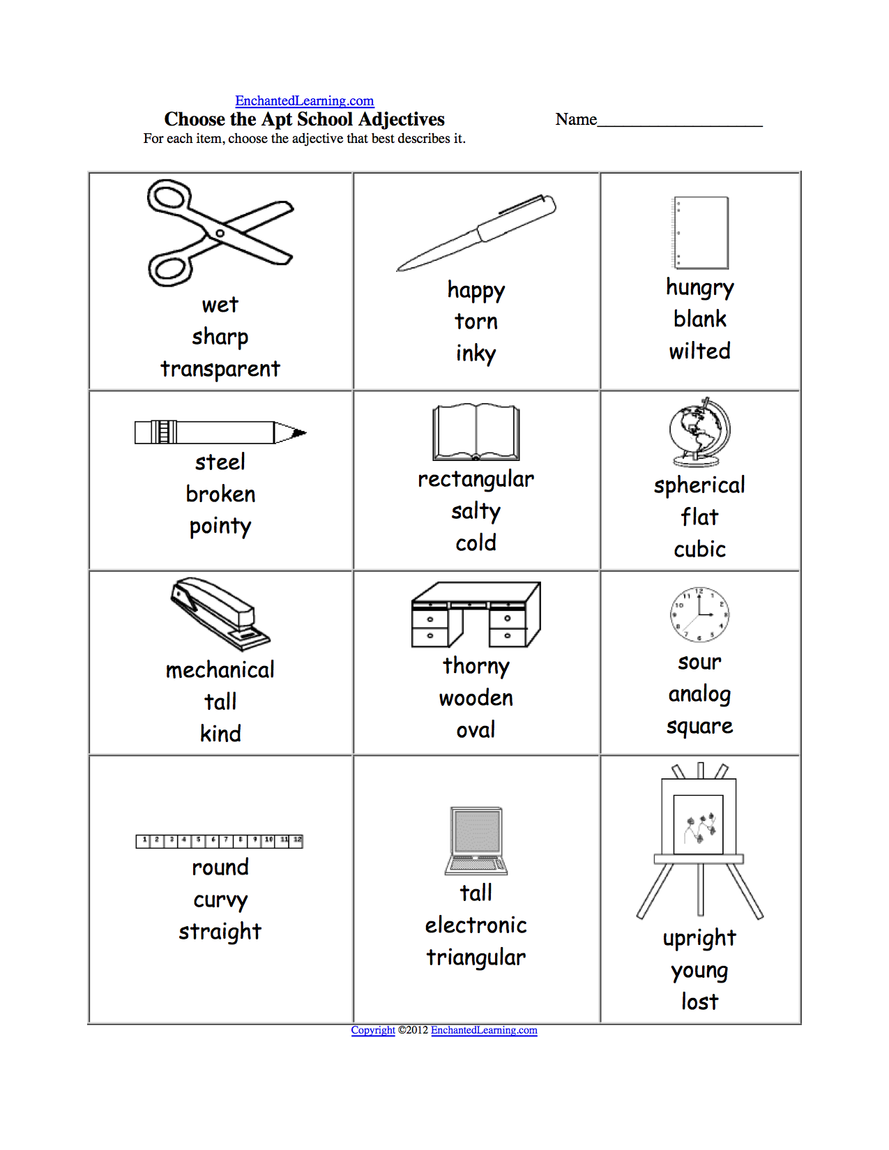 School Theme Page at EnchantedLearning – School Worksheets to Print