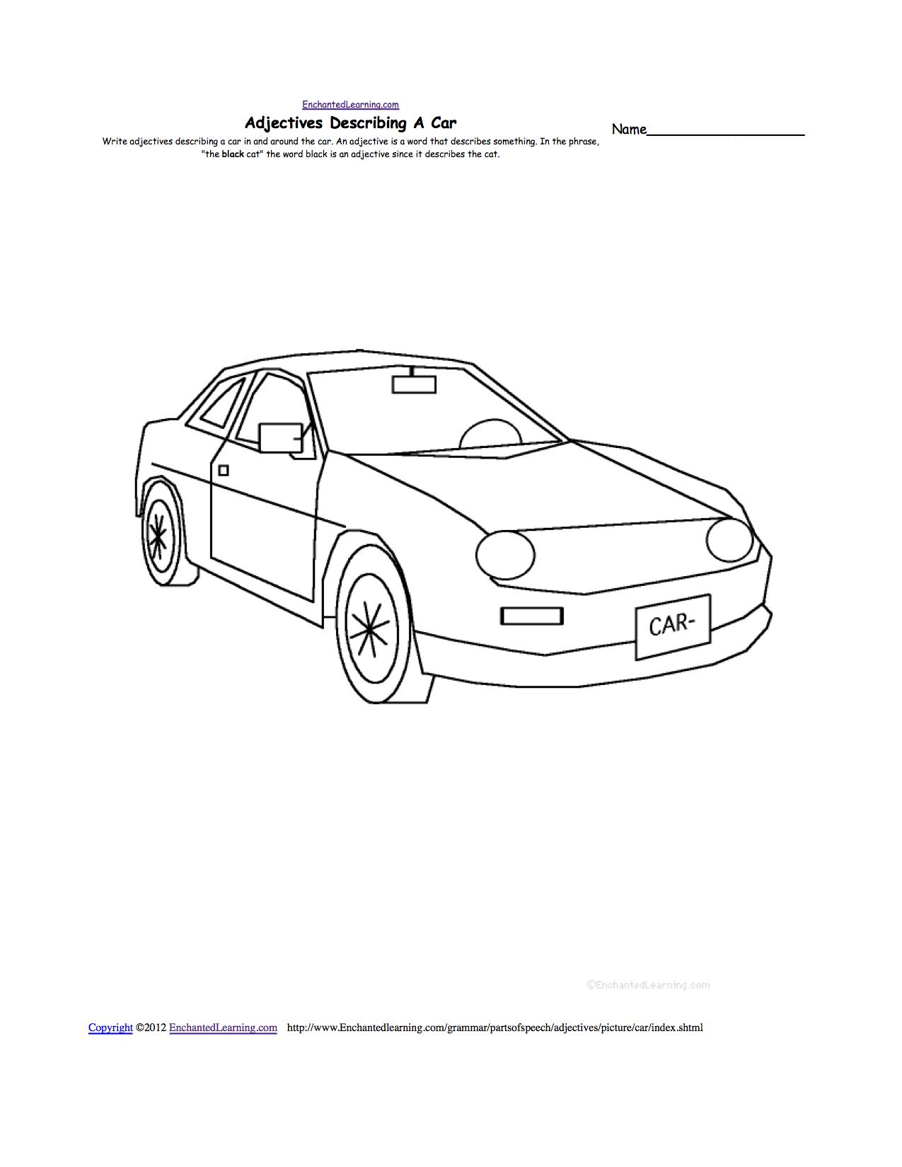 Worksheets Car Worksheets writing worksheets transportationvehicles at enchantedlearning com adjectives describing a car