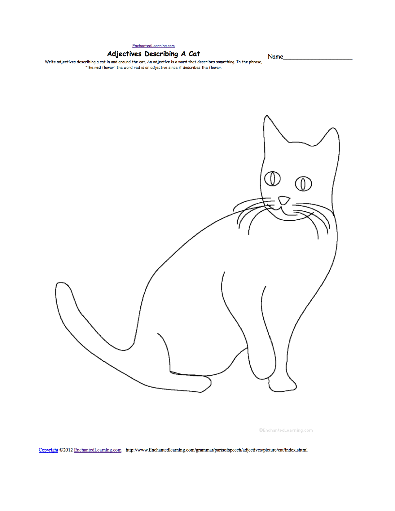 pets writing worksheets com adjectives describing a cat