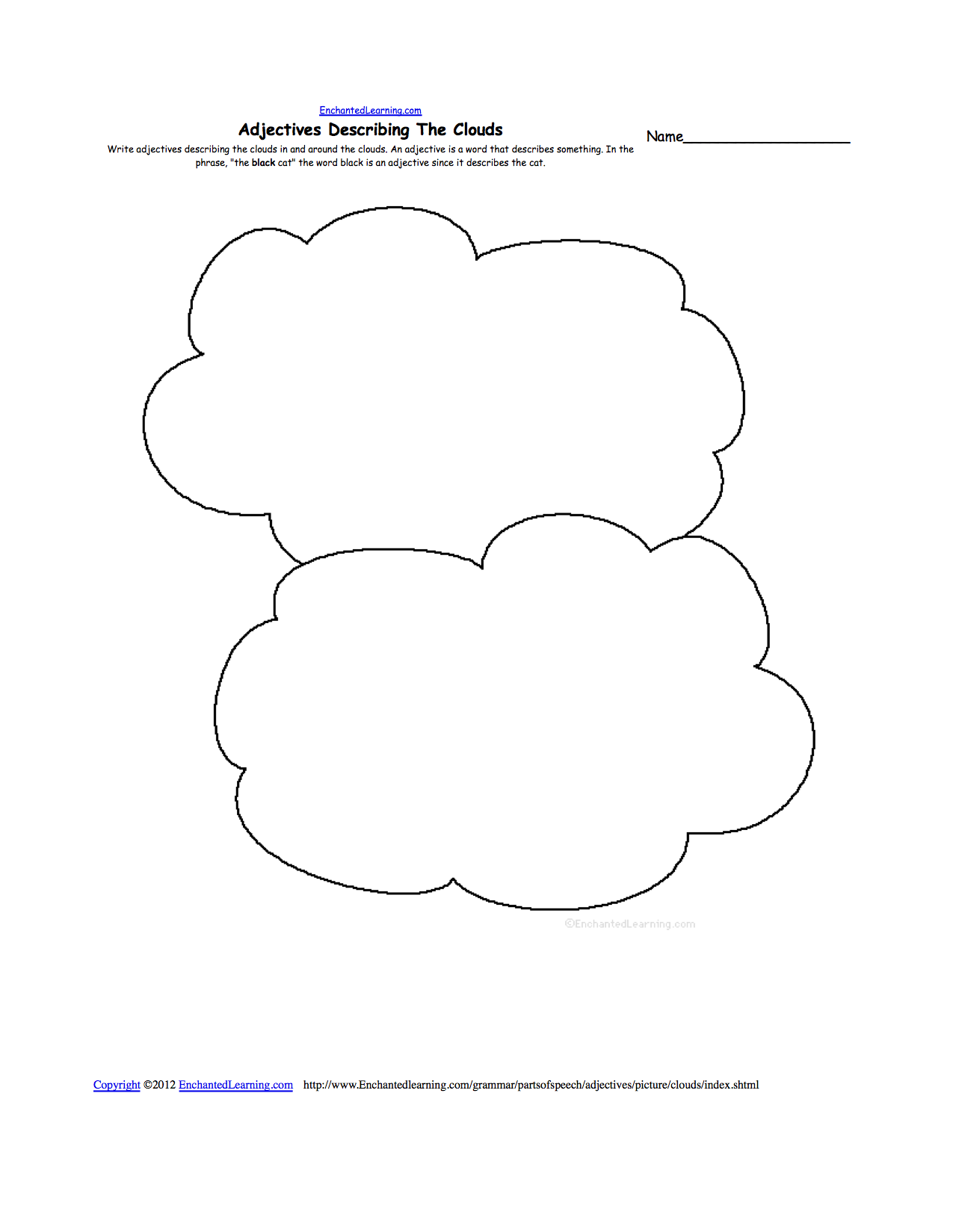 worksheet Precipitation Worksheet clouds enchanted learning adjectives describing clouds