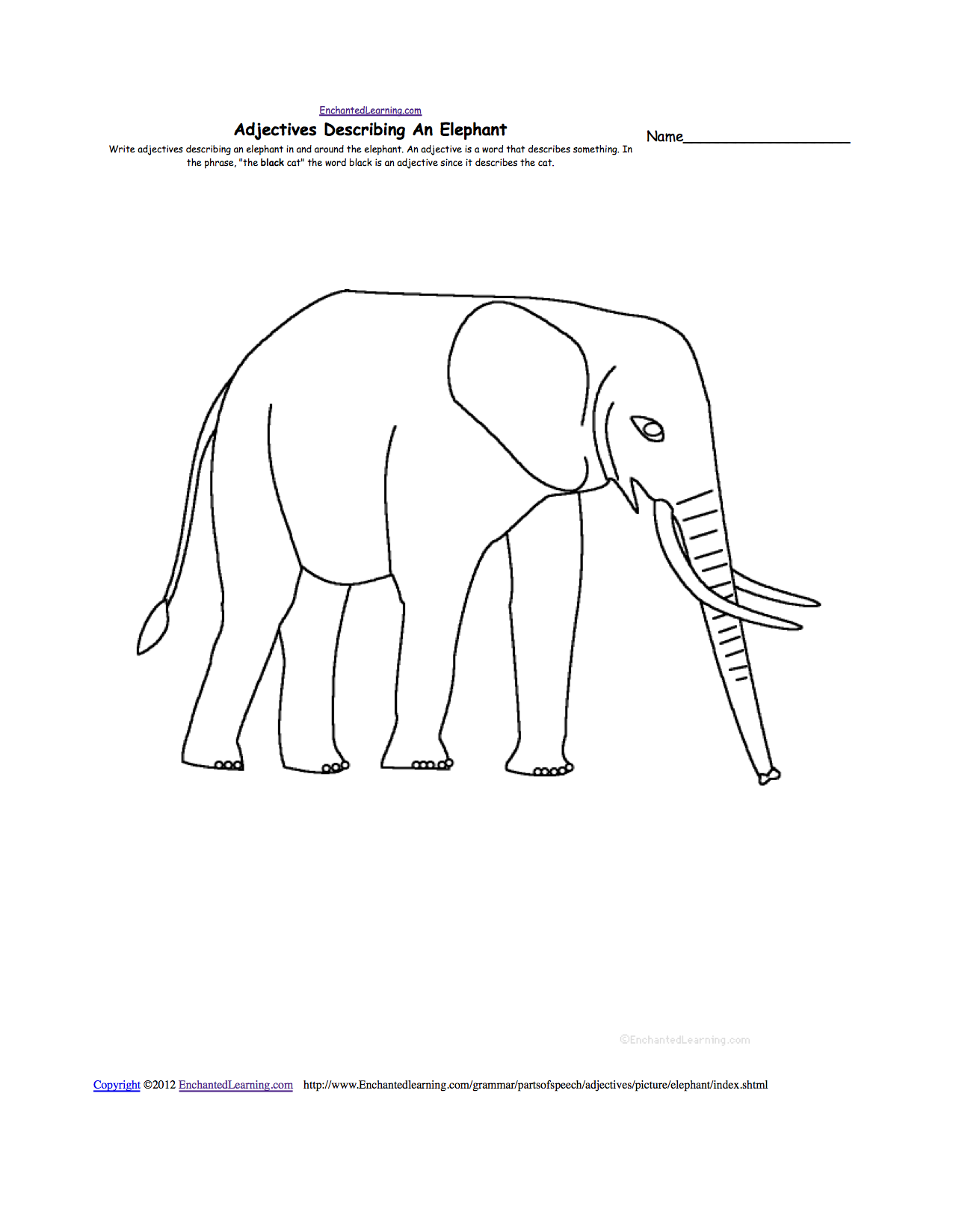 animal writing worksheets at com adjectives describing an elephant