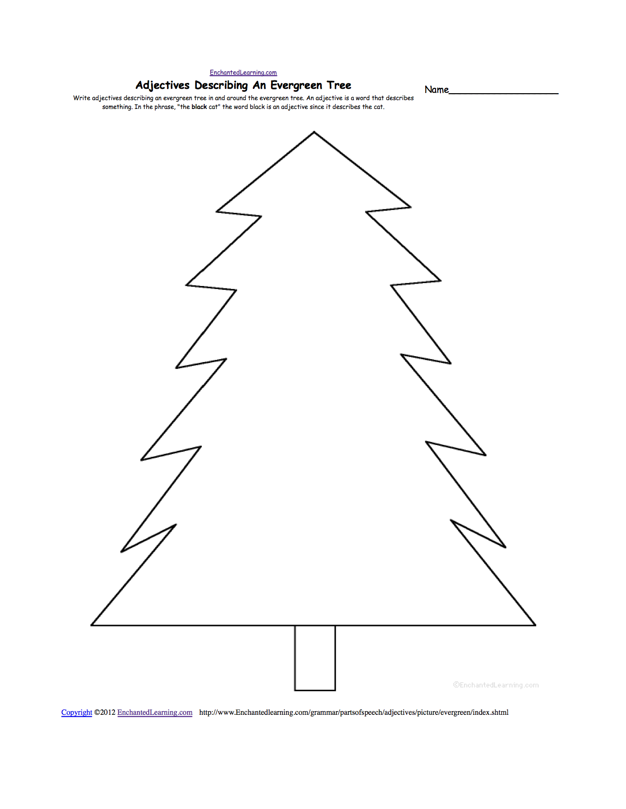 writing worksheets winter k theme page at enchantedlearning com evergreen tree