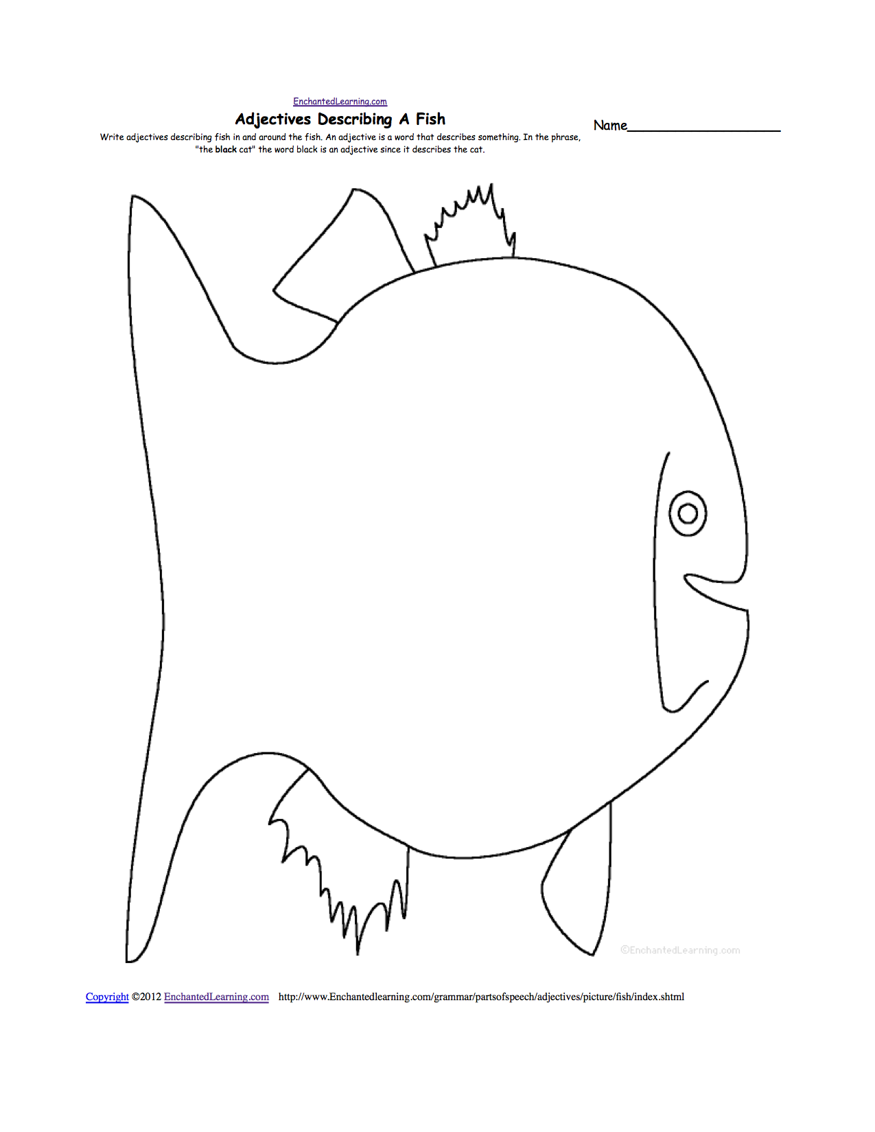 adjectives describing a fish printable worksheet