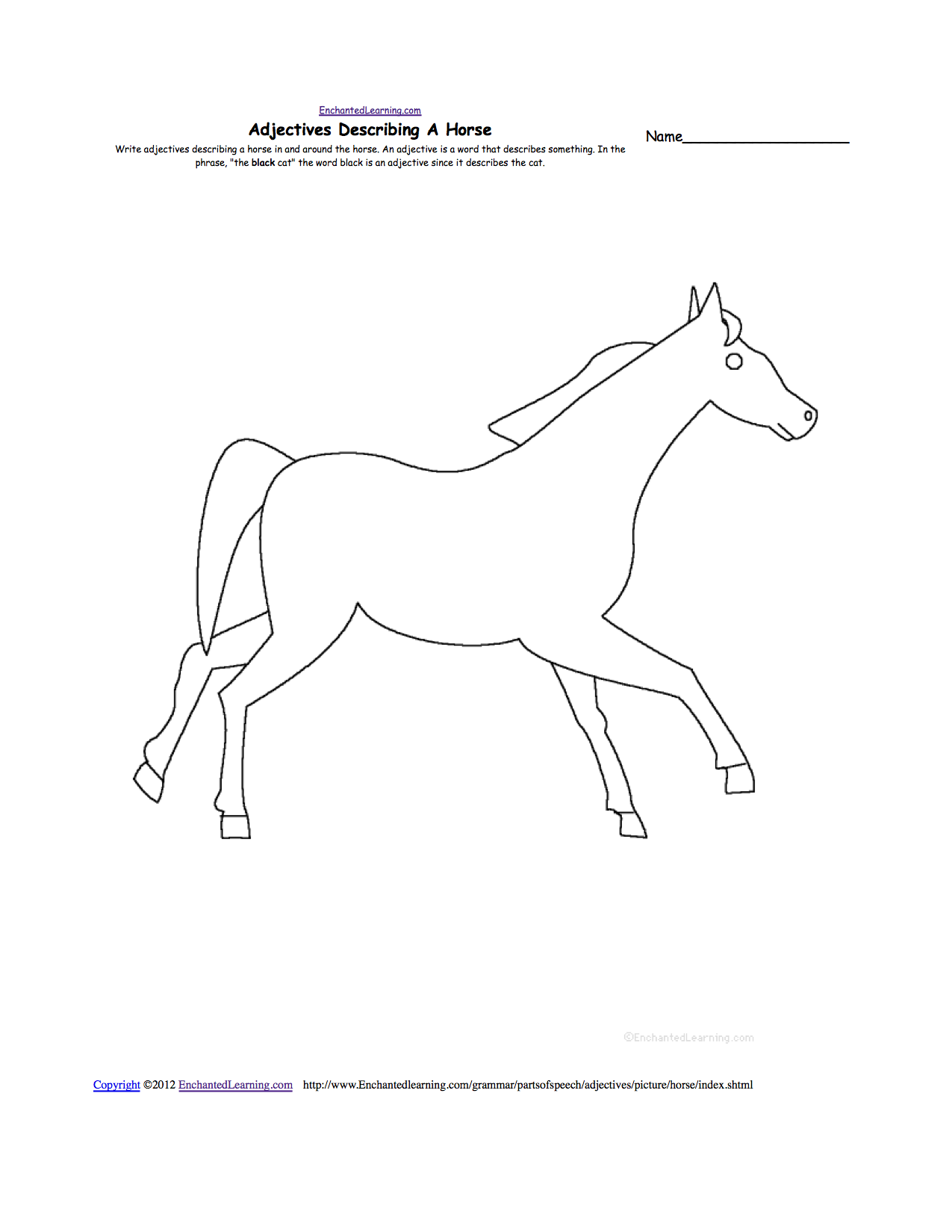Worksheets Horse Anatomy Worksheet horses at enchantedlearning com horse