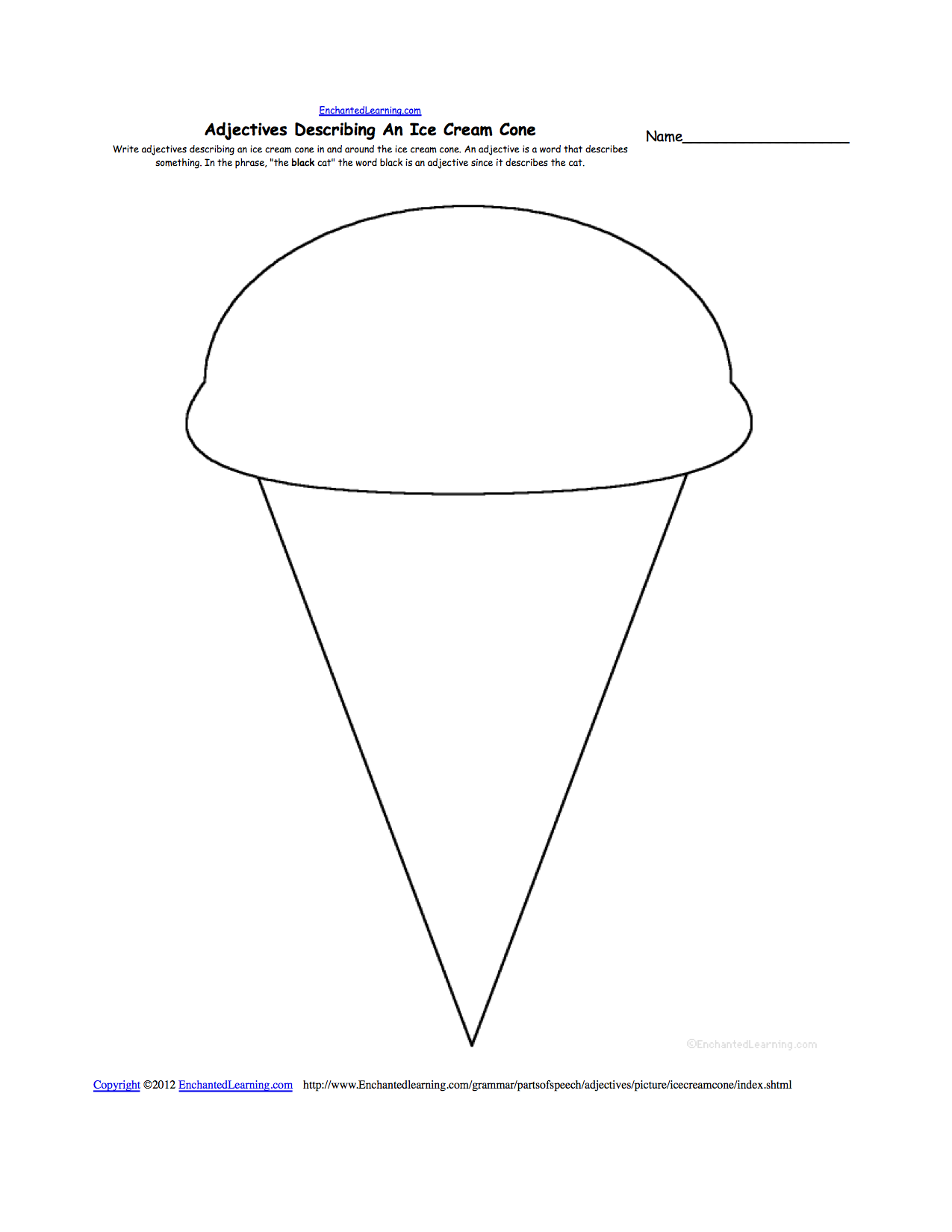 Coloring pictures of ice cream cones - Adjectives Describing An Ice Cream Cone