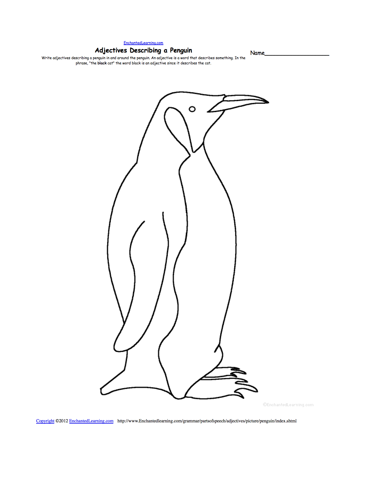 Penguins at EnchantedLearning – Penguin Worksheets