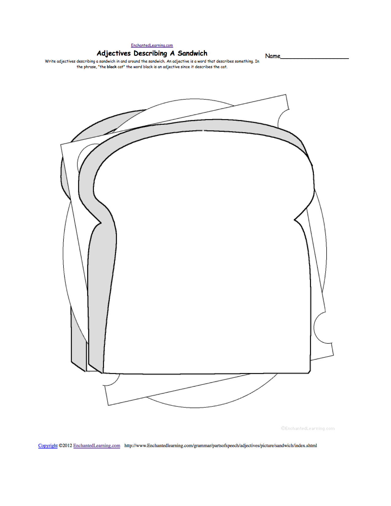 Writing food theme page at for Sandwich template for writing