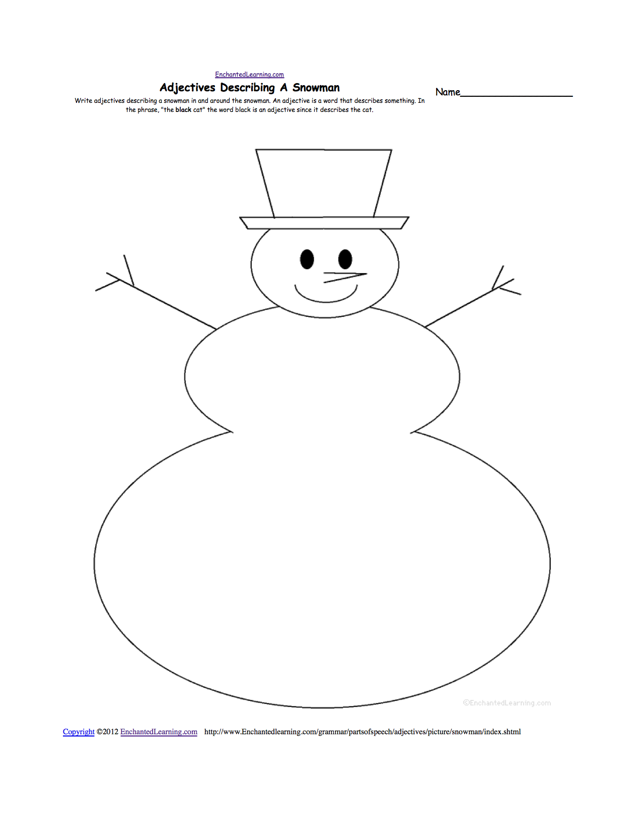 snow k 3 theme page at enchantedlearning com