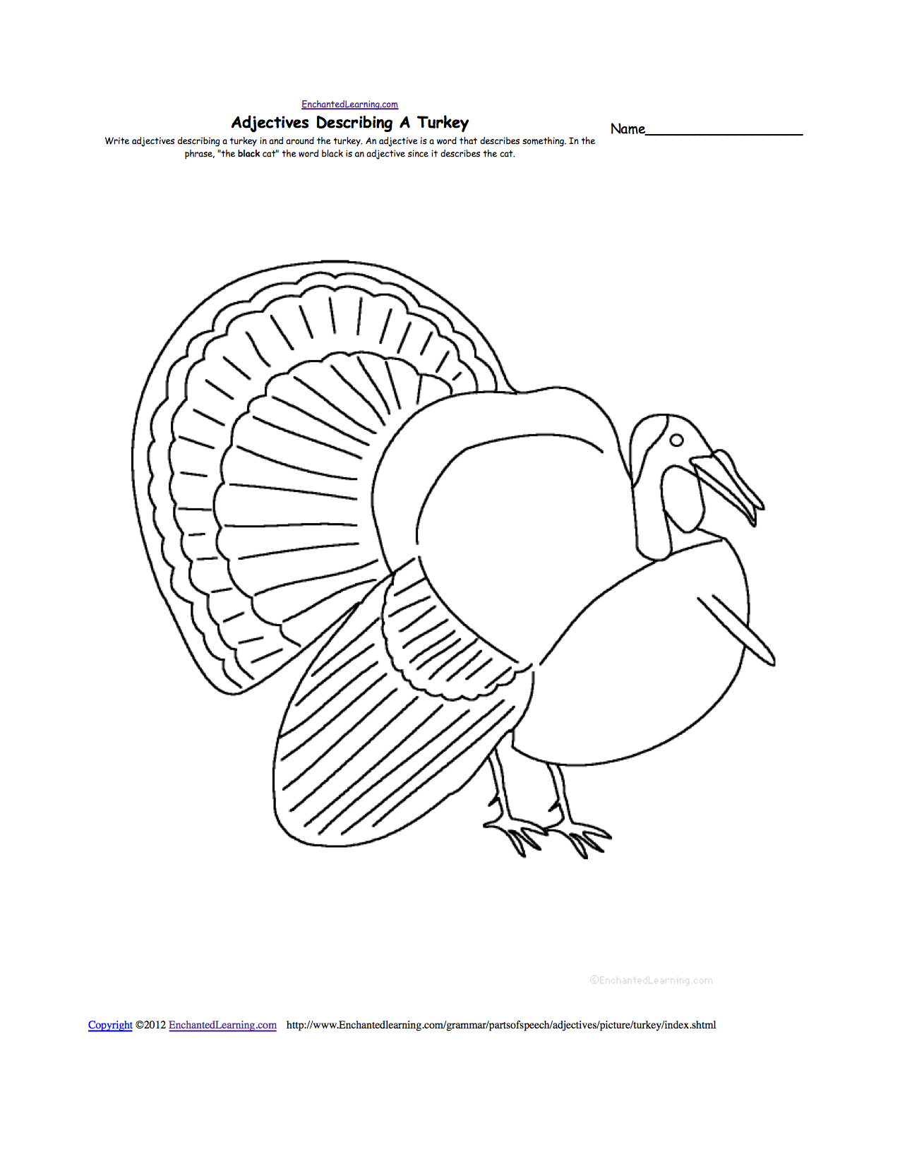 Uncategorized Why Did The Turkey Cross The Road Math Worksheet turkeys at enchantedlearning com adjectives describing a turkey
