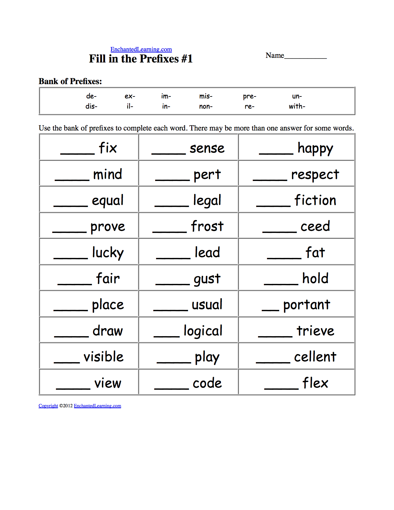 Printables Free Prefix Worksheets worksheets and activities prefixes suffixes prefix worksheet