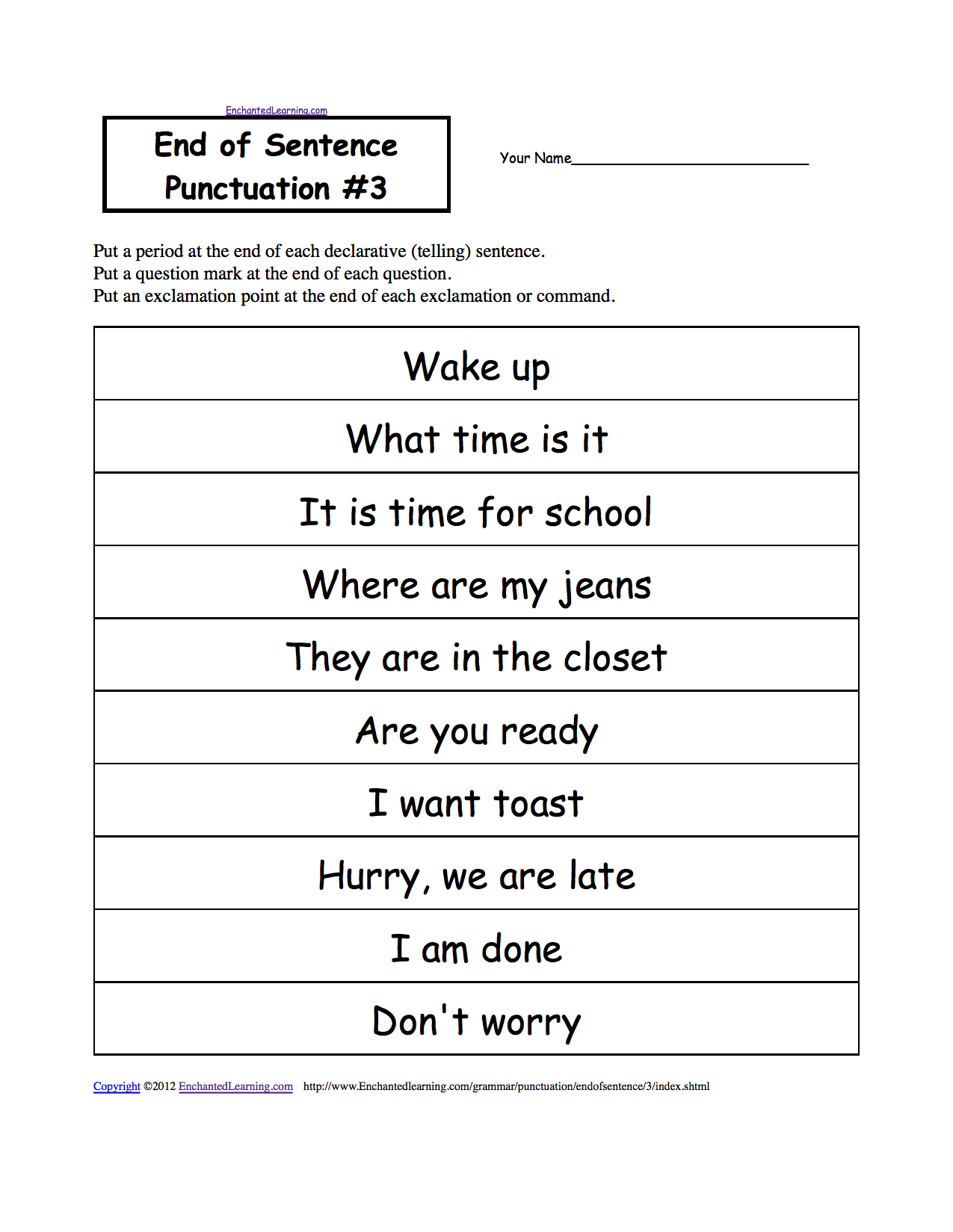 Punctuation Marks EnchantedLearning – Correcting Sentences Worksheets