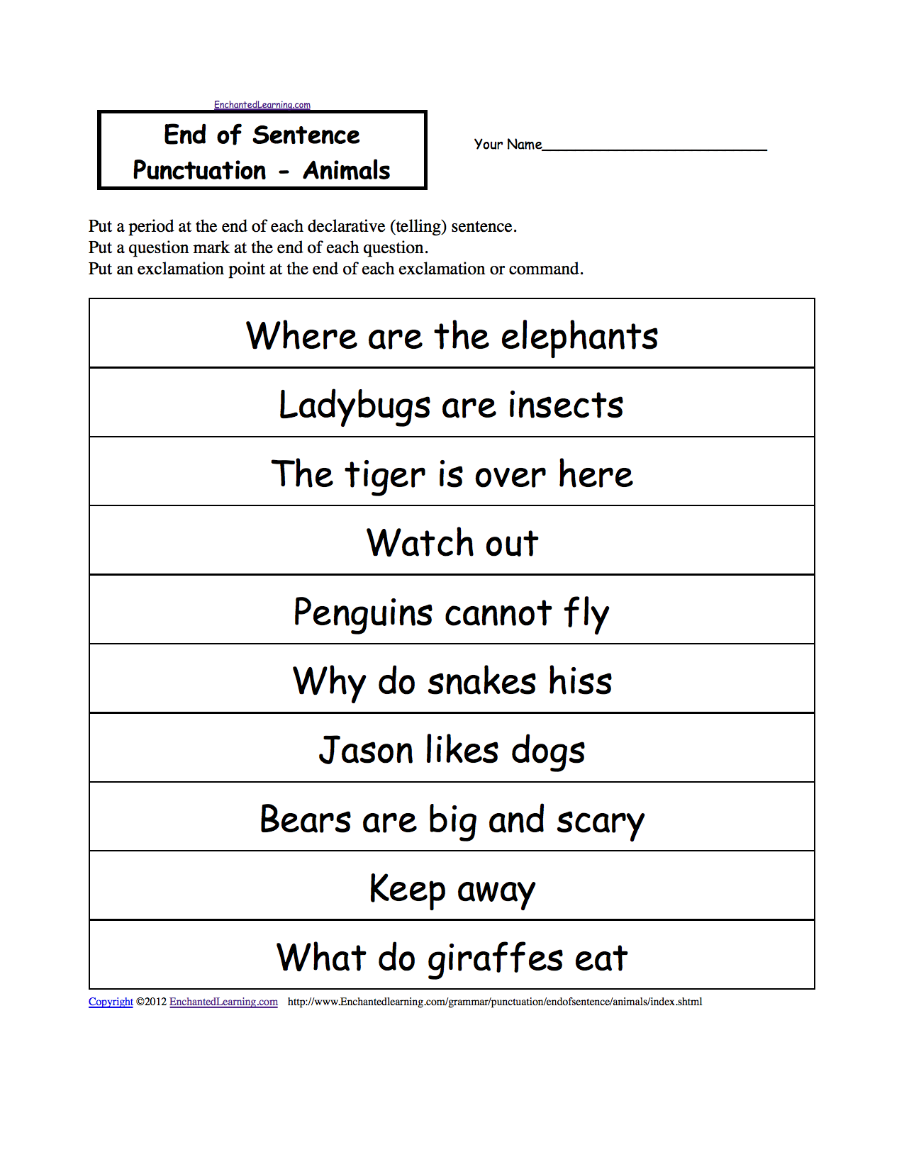 worksheet Punctuation Marks Worksheets end of sentence punctuation printable worksheets animals