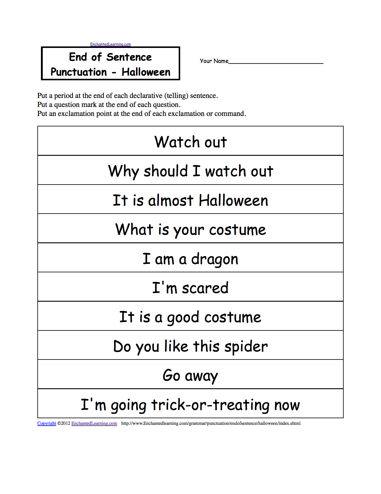 Printables Kindergarten Punctuation Worksheets end of sentence punctuation printable worksheets halloween