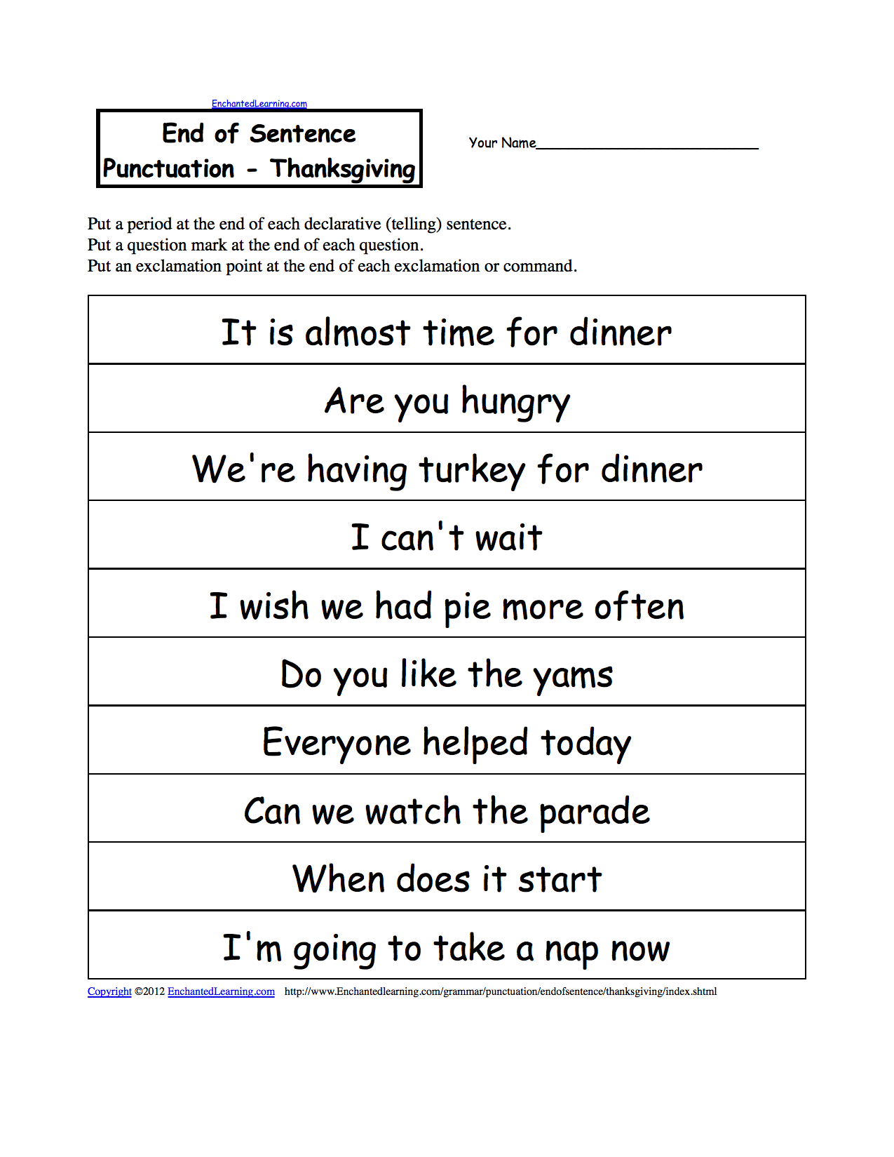 Printables Punctuation Worksheet end of sentence punctuation printable worksheets punctuate