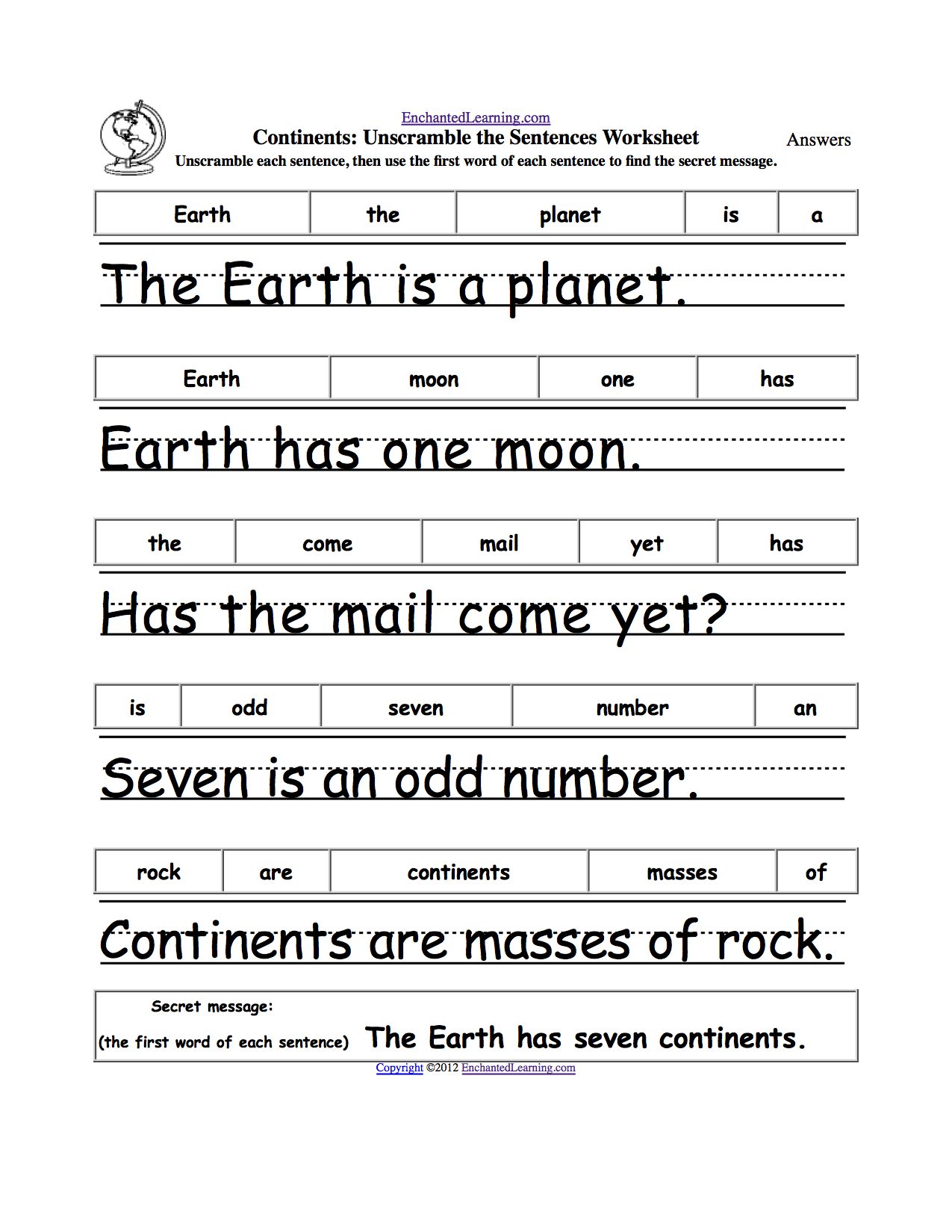 worksheet Parts Of A Sentence Worksheet unscramble the sentences worksheets enchantedlearning com sentences