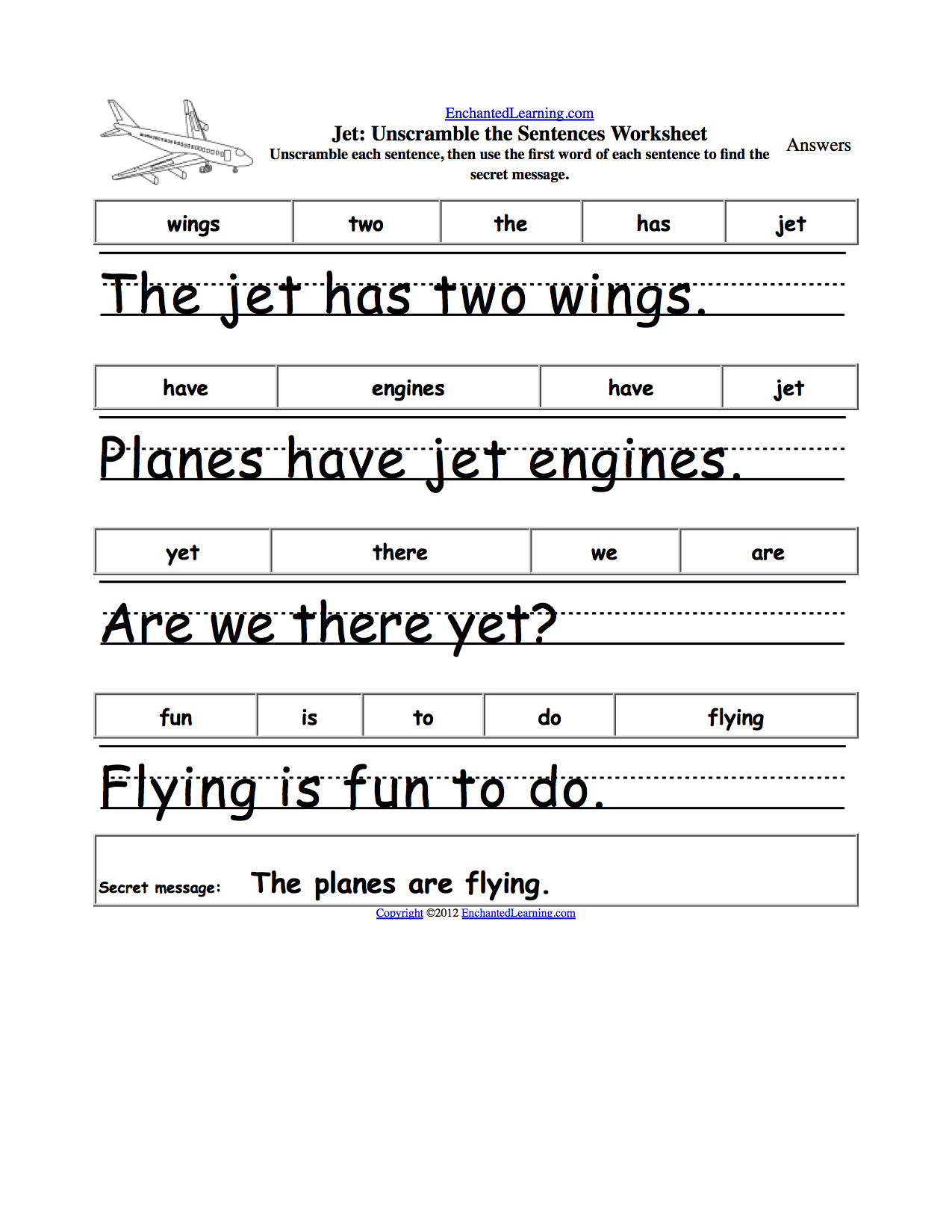 Writing Complete Sentences Worksheets – Math Sentences Worksheets