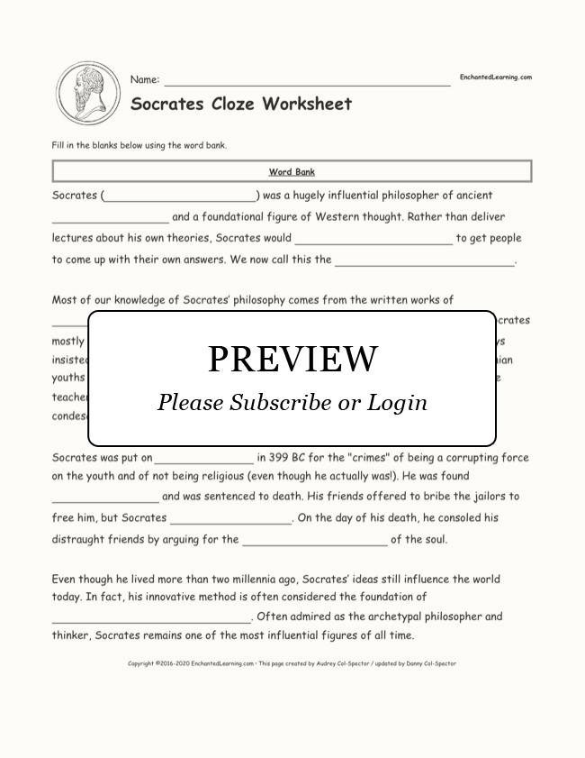 Free Printable Math Worksheets For 1st Grade Pdf Socrates Cloze Worksheet  Enchanted Learning My Worksheet with Algebra Worksheets Word Problems Excel Socrates Cloze Worksheet Analog And Digital Clock Worksheets Excel