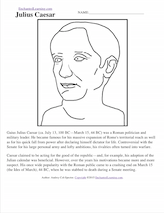 Julius Caesar printout and short biography
