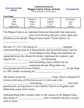 Worksheets Magna Carta Worksheet magna carta cloze activity enchantedlearning com timeline