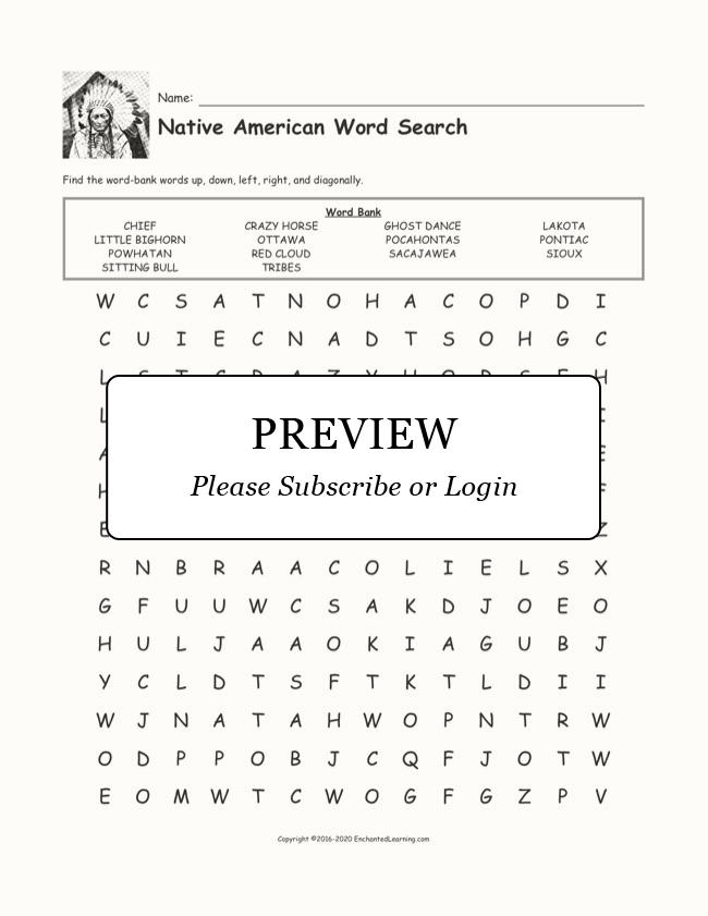 Native American Word Search - Enchanted Learning