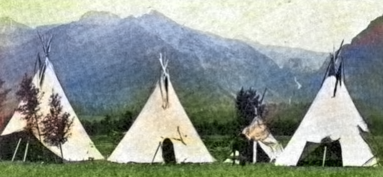 Flathead Tipis, in: Indian School Journal, vol. 7, no. 3, Jan. 1907, p. 12, The Flathead Indian Tribe and their Beautiful Reservation, photo by Edw Boos