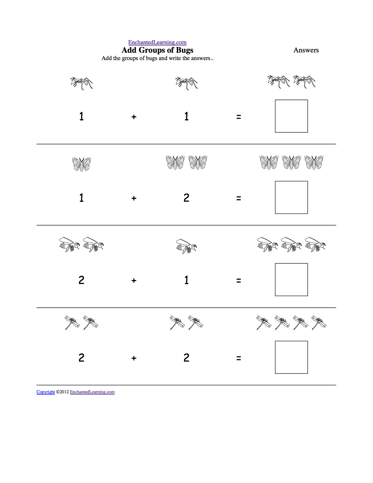 Animal Math Worksheets at EnchantedLearning – Maths Worksheets with Answers