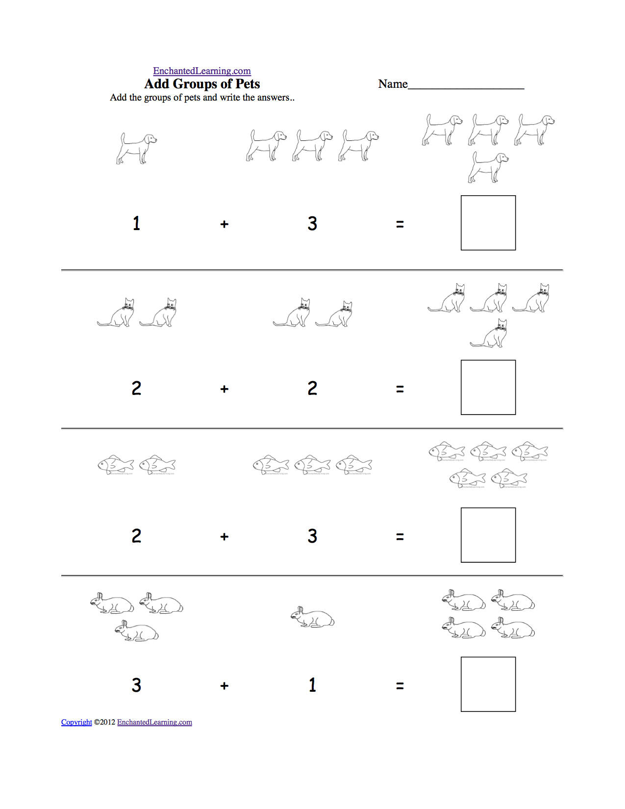 P K Math Worksheet : Visual addition adding groups of items math at