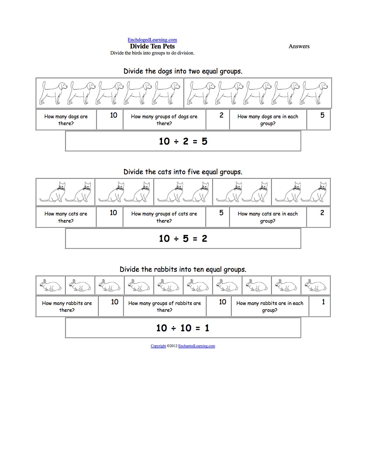 Worksheets Making Groups Of 10 Worksheets division enchantedlearning com