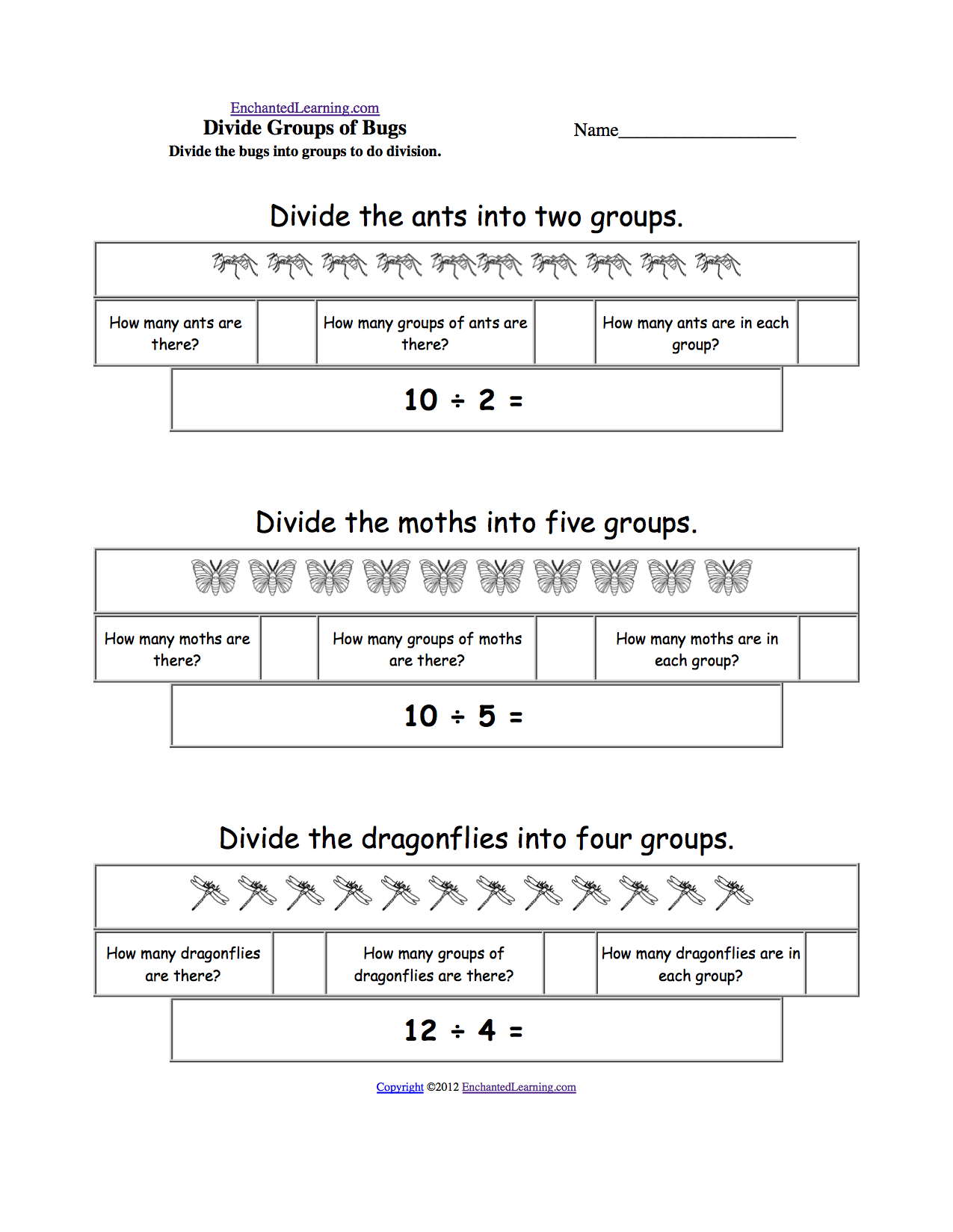 Printables Equal Groups Multiplication Worksheets division enchantedlearning com divide bugs into groups