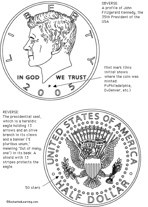 US Half Dollar Coloring Page Printout Enchanted Learning