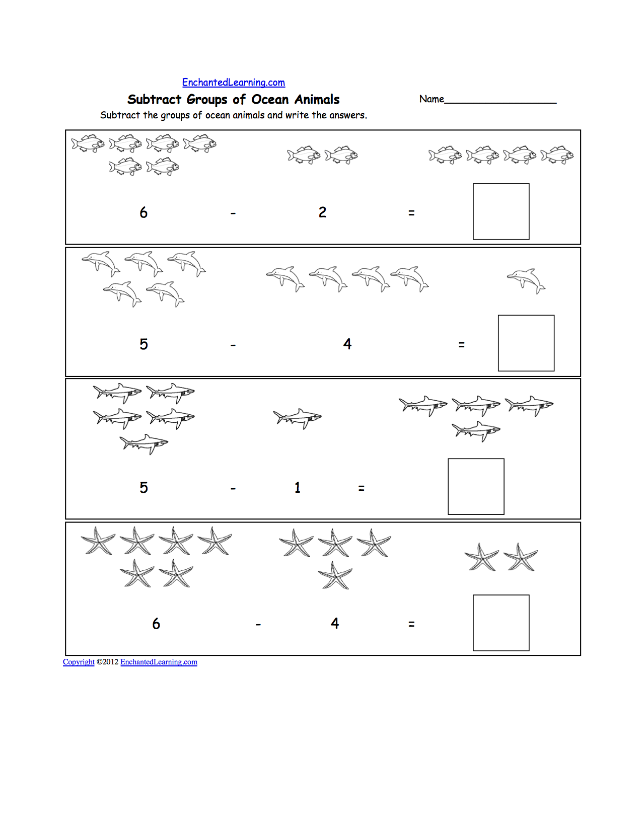 Animal Math Worksheets at EnchantedLearning – Early Years Maths Worksheets