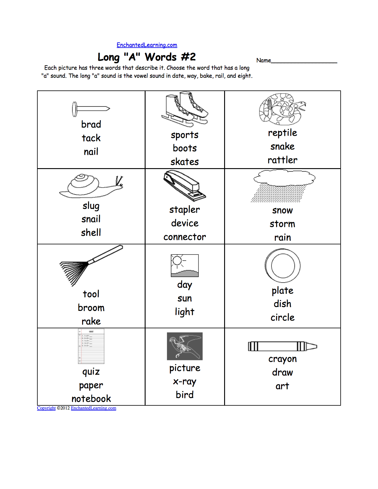 Phonics Worksheets Multiple Choice Worksheets to Print – Long a Worksheet