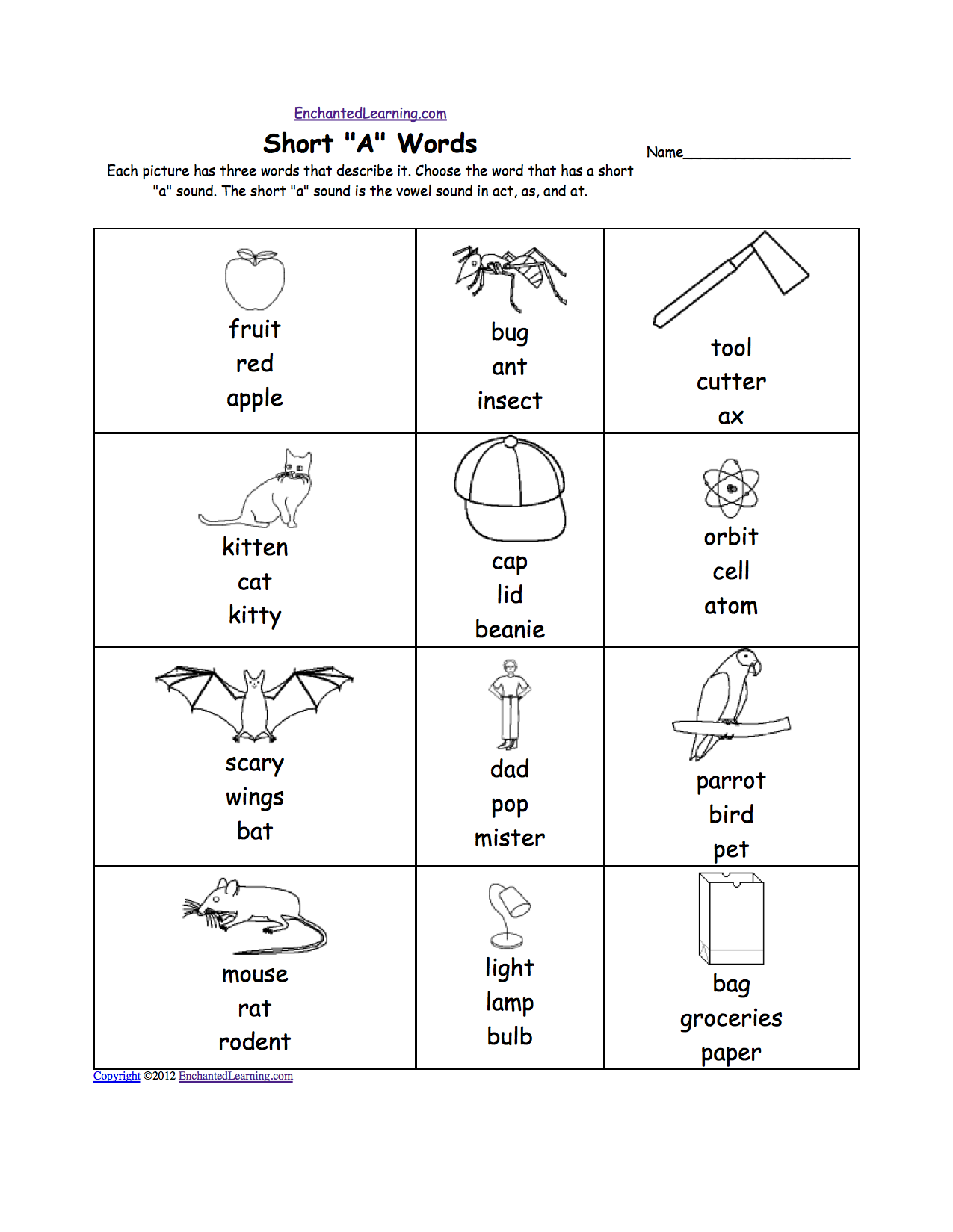 Worksheets Short Vowel Worksheets phonics worksheets multiple choice to print enchantedlearning com