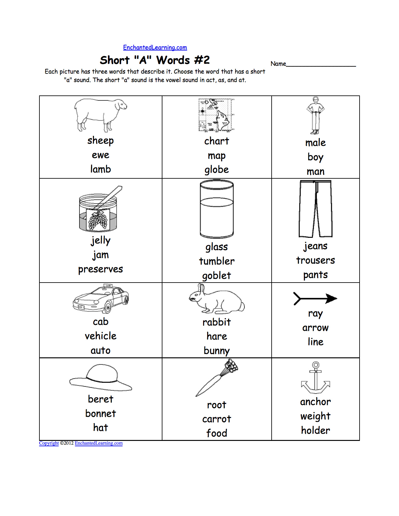 worksheet Short Vowel Sound Worksheets phonics worksheets multiple choice to print enchantedlearning com