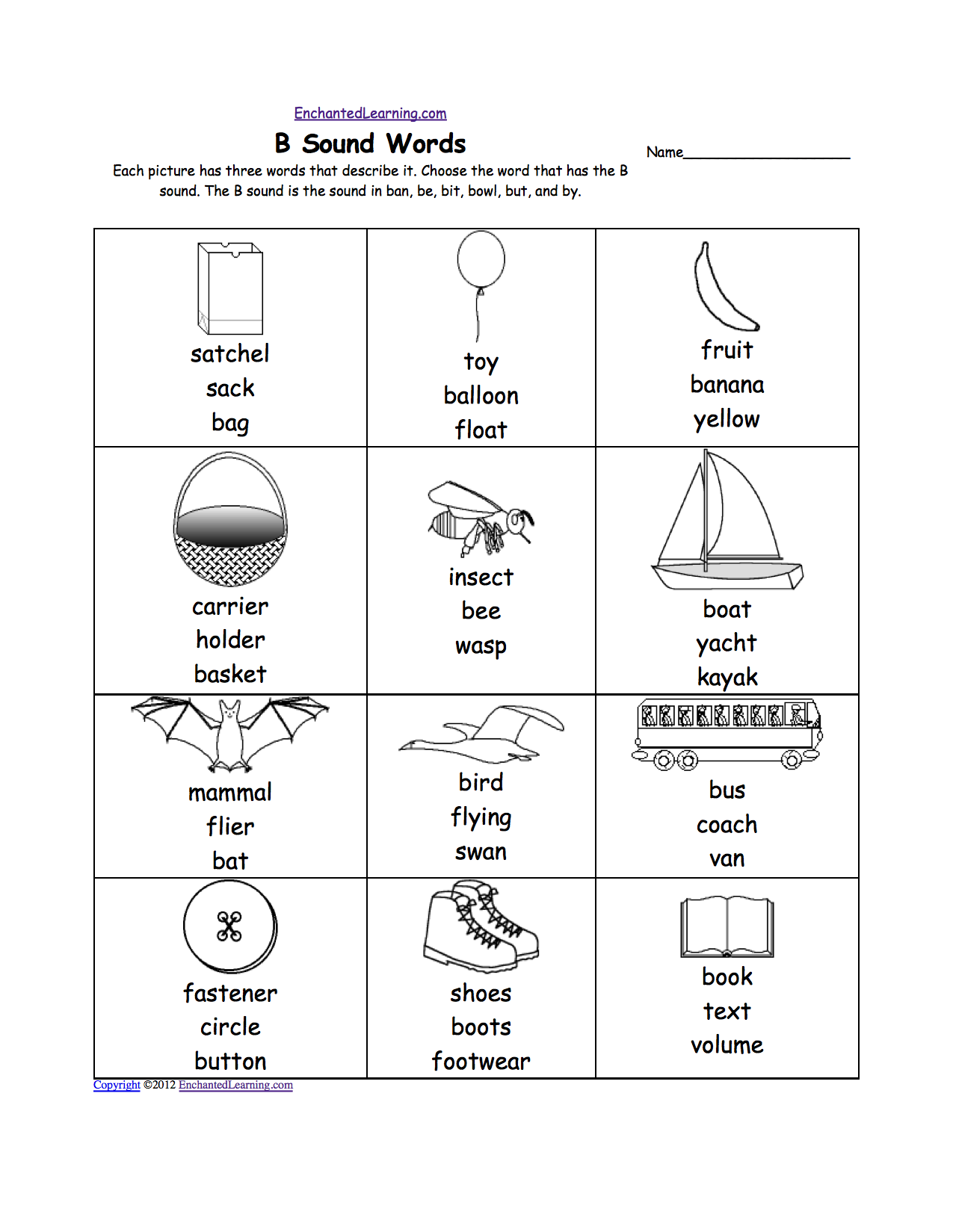 worksheet Letter B Worksheet letter b alphabet activities at enchantedlearning com br sound phonics worksheet multiple choice each picture has three words that describe it choose the word a sound