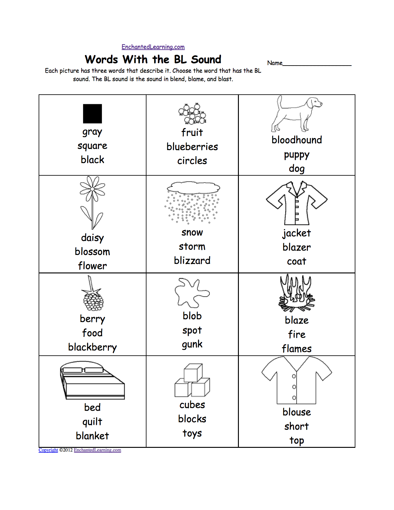 Bl sound phonics worksheet multiple choice