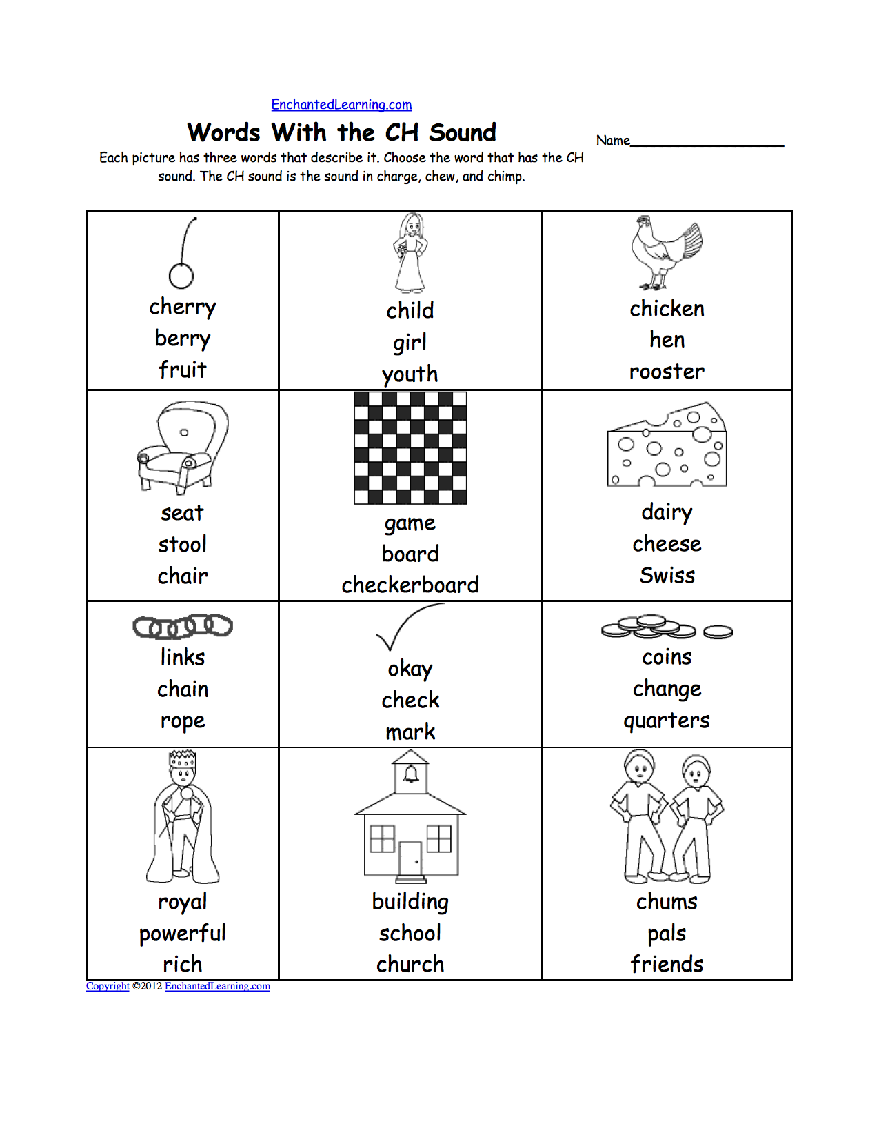 Worksheets Ch Sound Worksheets phonics worksheets multiple choice to print enchantedlearning com