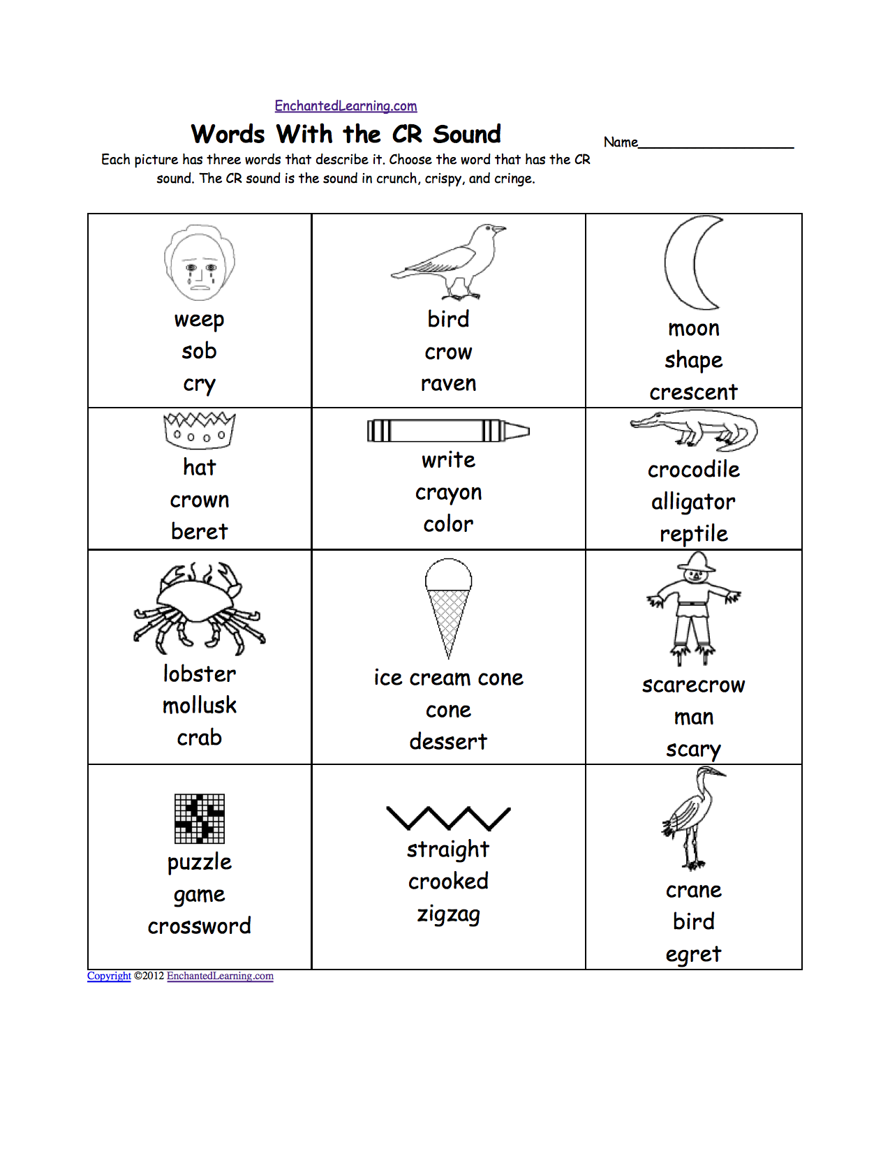 Phonic Sounds Activities Quot cr Quot Sound Phonics Worksheet