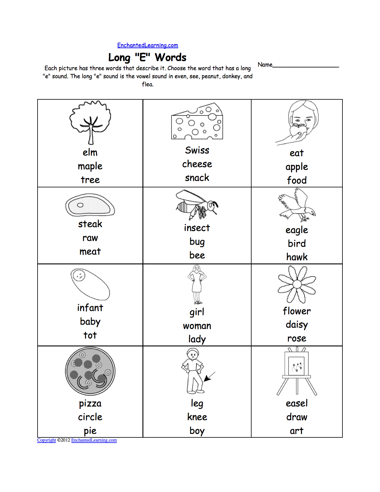 Long E Alphabet Activities at EnchantedLearning – Short E Worksheets for Kindergarten