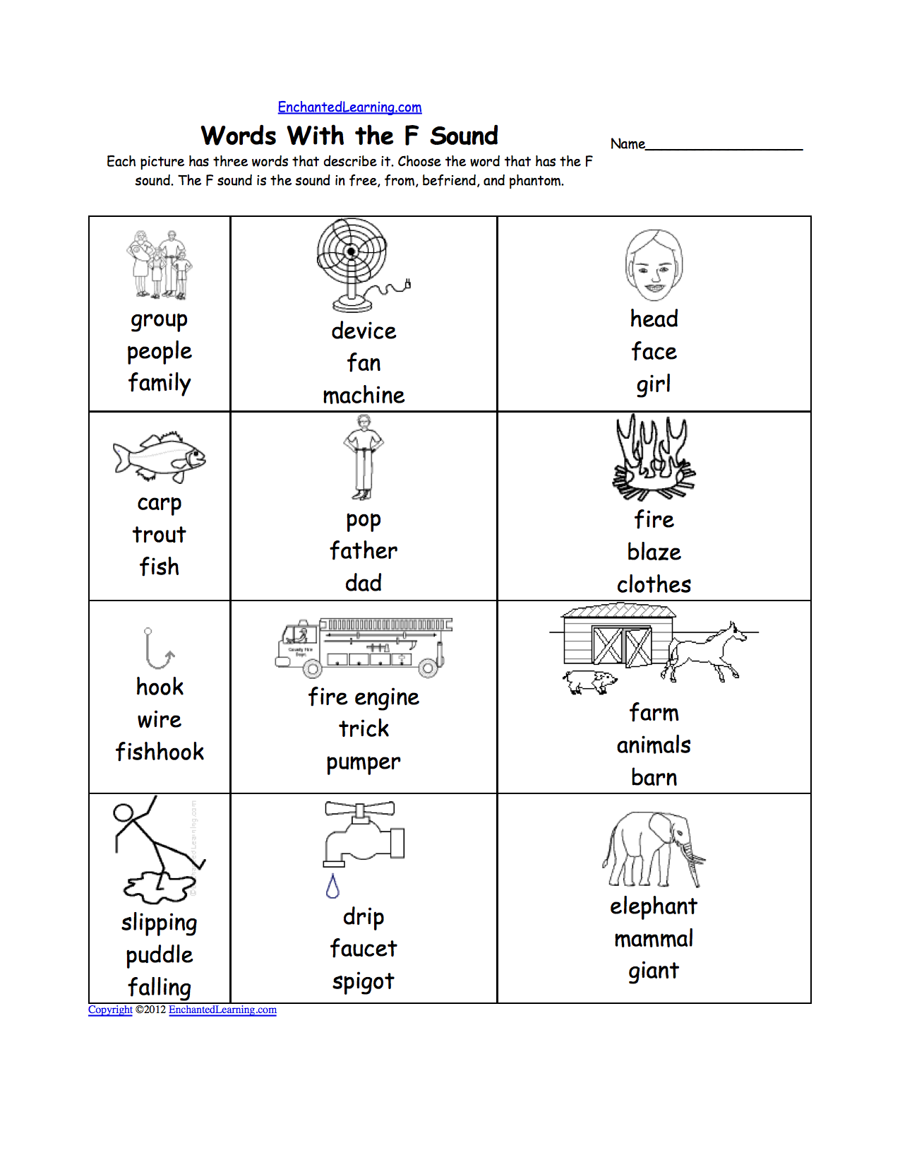 Letter F Alphabet Activities at EnchantedLearning – Letter F Worksheets for Kindergarten