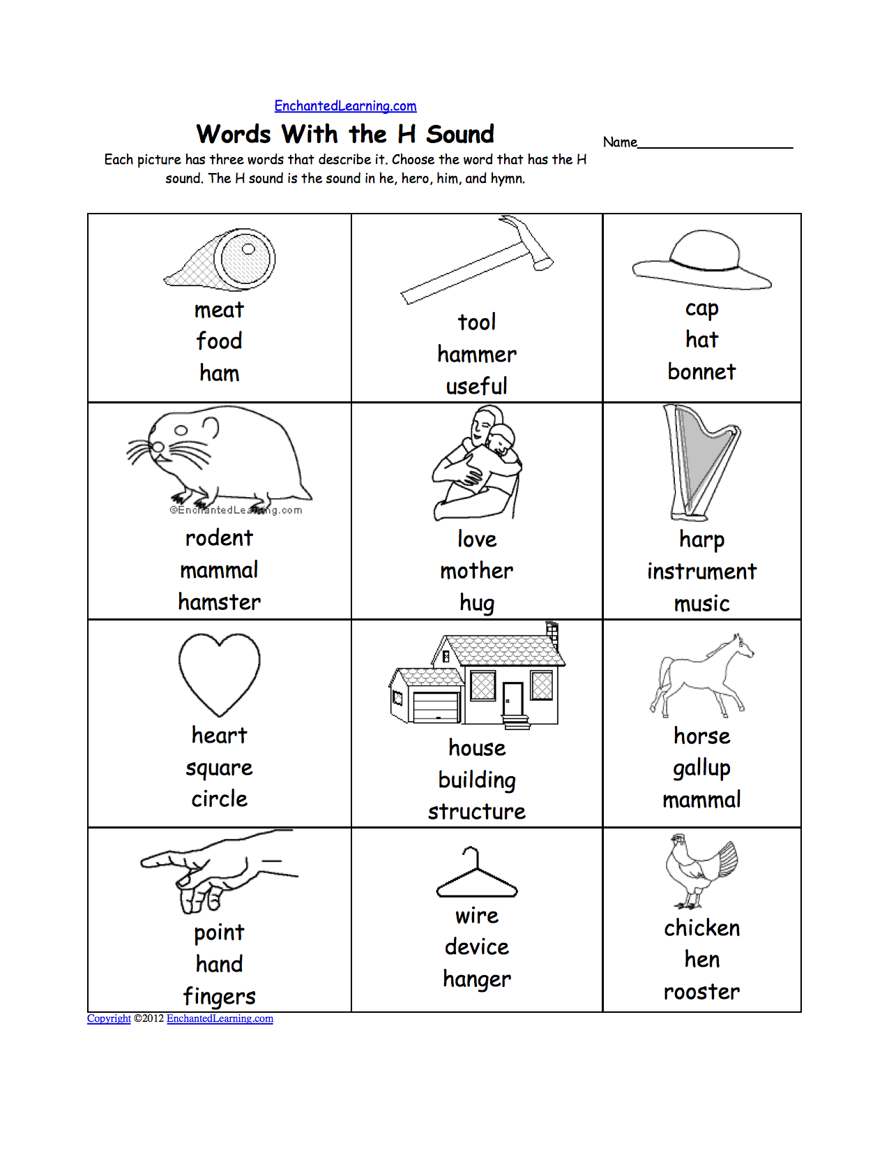 Letter H Alphabet Activities at EnchantedLearning – Letter H Worksheets Kindergarten
